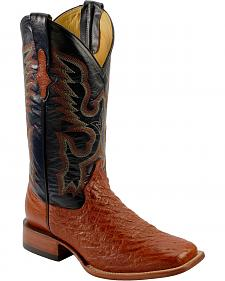 Ferrini Smooth Quill Ostrich Cowboy Boots - Wide Square Toe
