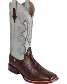 Ferrini Smooth Quill Ostrich Embroidered Cowboy Boots - Wide Square Toe