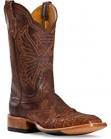 Cinch Classic Caiman Wingtip Cowboy Boots - Square Toe