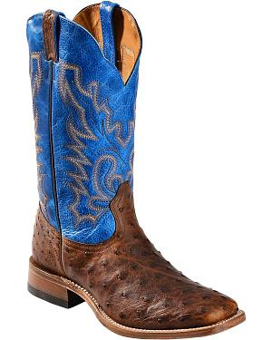 Boulet Blue Full Quill Ostrich Cowboy Boots - Wide Square Toe