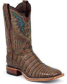 Tony Lama Vintage Caiman Belly Cowboy Boots - Square Toe