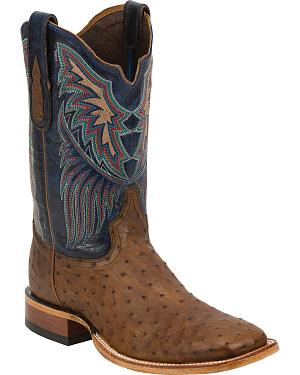 Tony Lama Black Label Full Quill Ostrich Cowboy Boots - Square Toe