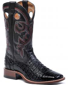 Boulet Black Caiman Belly Cowboy Boots - Square Toe