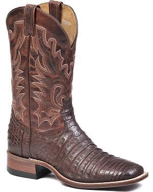 Boulet Brown Caimain Belly Cowboy Boots - Square Toe