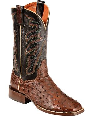 Dan Post Chandler Full Quill Ostrich Cowboy Boots - Square Toe