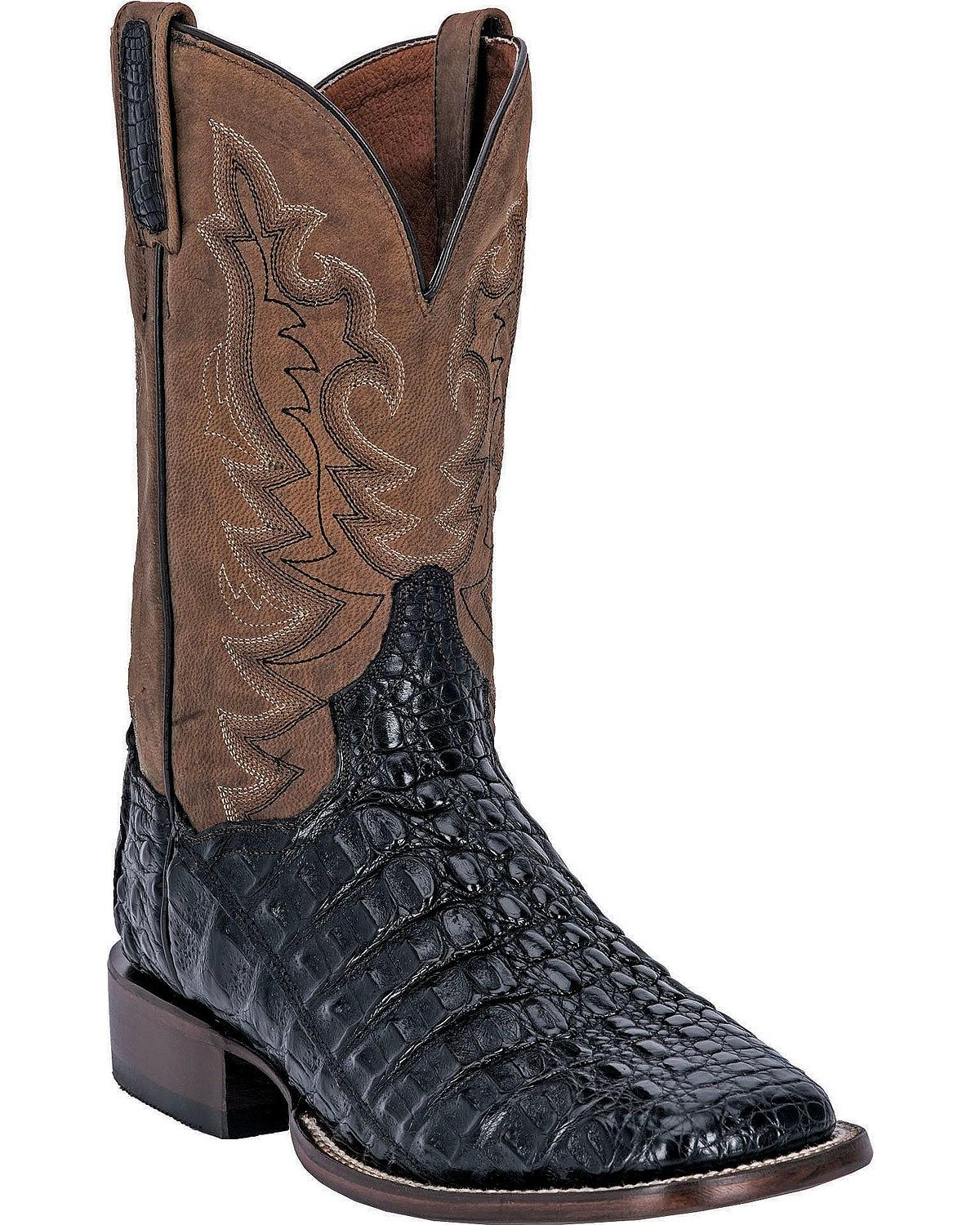 Dan Post Men's Caiman Foot Leather Cowboy Boot Square Toe