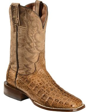 Dan Post Caiman Foot Leather Cowboy Boots - Square Toe