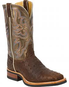 Justin Full Quill Ostrich Bronze Florention Cowboy Boots - Square Toe