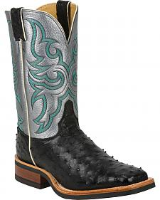 Justin Full Quill Ostrich Atomic Mercury Cowboy Boots - Square Toe