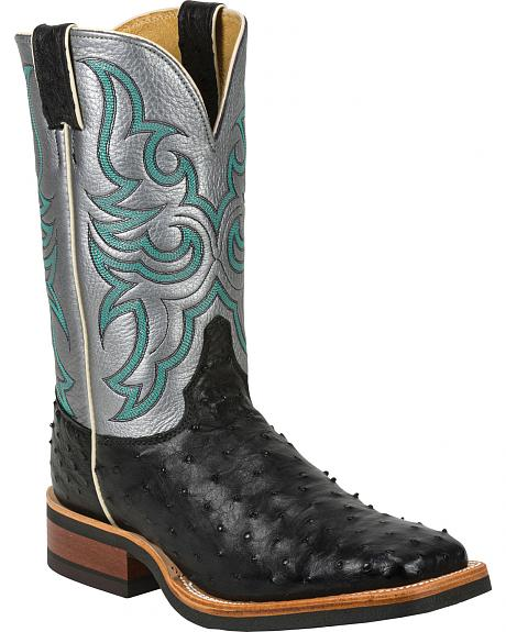 Justin Full Quill Ostrich Atomic Mercury Cowboy Boots