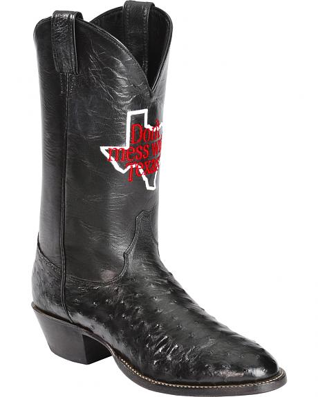 Justin Men's Don't Mess With Texas Full Quill Ostrich Cowboy Boots - Round Toe
