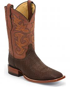 Justin Men's AQHA Remuda Oiled Shark Cowboy Boots - Square Toe