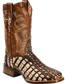 Dan Post Camel Everglades Caiman Cowboy Boots - Square Toe