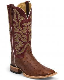 Justin AQHA Remuda Full Quill Ostrich Cowboy Boots - Square Toe
