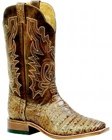 Boulet Antique Pecan Caiman Belly Boots - Square Toe