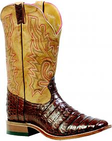 "Boulet Barnwood 13"" Caiman Belly Boots - Square Toe"
