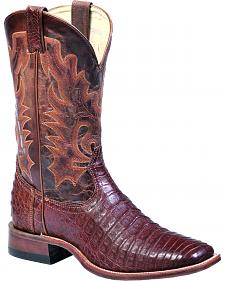 Boulet Barnwood Caiman Belly Boots - Wide Square Toe
