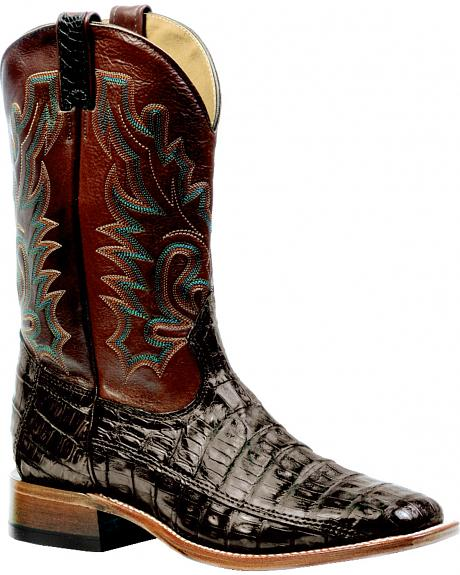 Boulet 3-Piece Chocolate Caiman Belly Boots - Square Toe