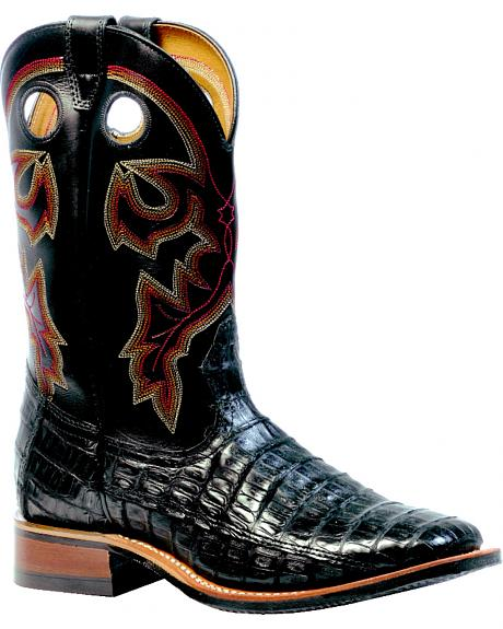 Boulet 3-Piece Black Caiman Belly Boots - Square Toe