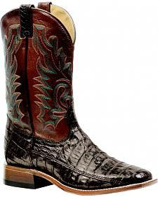 Boulet Chocolate Caiman Belly Rider Sole Boots - Square Toe