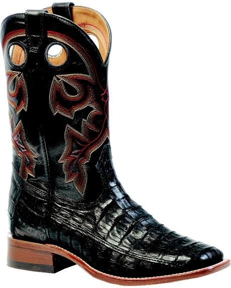 Boulet 3-Piece Black Caiman Belly Rider Sole Boots - Square Toe