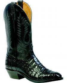 Boulet Black Caiman Belly Boots - Round Toe