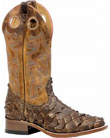Boulet Men's Seal Brown Pirarucu Fish Cowboy Boots - Square Toe