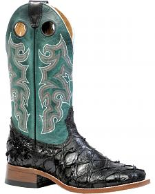 Boulet Men's Black Pirarucu Fish Western Boots - Square Toe