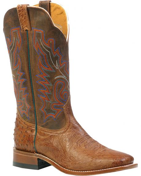 Boulet Smooth Mad Dog Ranger Ostrich Boots - Square Toe