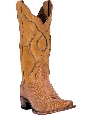 Dan Post Honey Okeechobee Python Cowboy Boots - Snip Toe