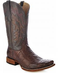 Circle G Tobacco Brown Ostrich Patchwork Cowboy Boots - Square Toe