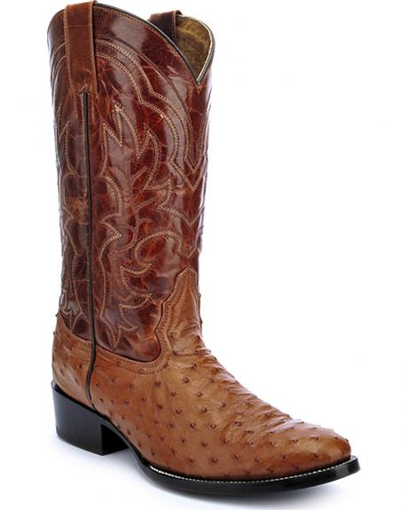 Circle G Full Quill Ostrich Cowboy Boots - Round Toe