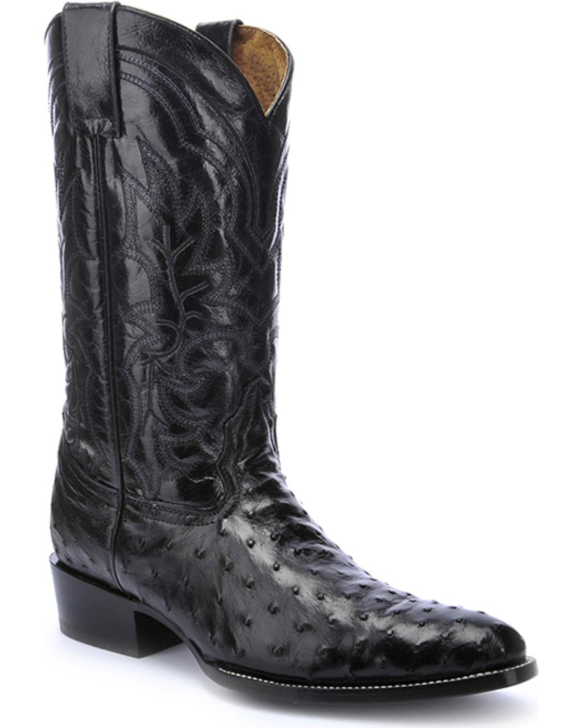 Men's Full Quill Ostrich Cowboy Boot Round Toe - L5206
