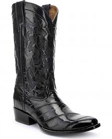 Circle G Black Eel Cowboy Boots - Round Toe