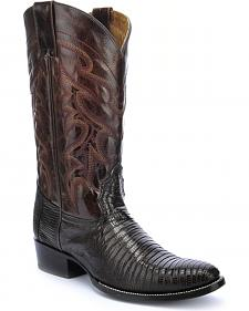 Circle G Teju Lizard Chocolate Brown Cowboy Boots - Round Toe
