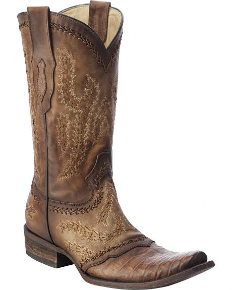 Corral Caiman Cowboy Boots - Square Toe