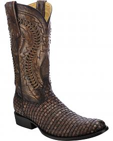 Corral Lizard Braided Vamp Cowboy Boots - Round Toe