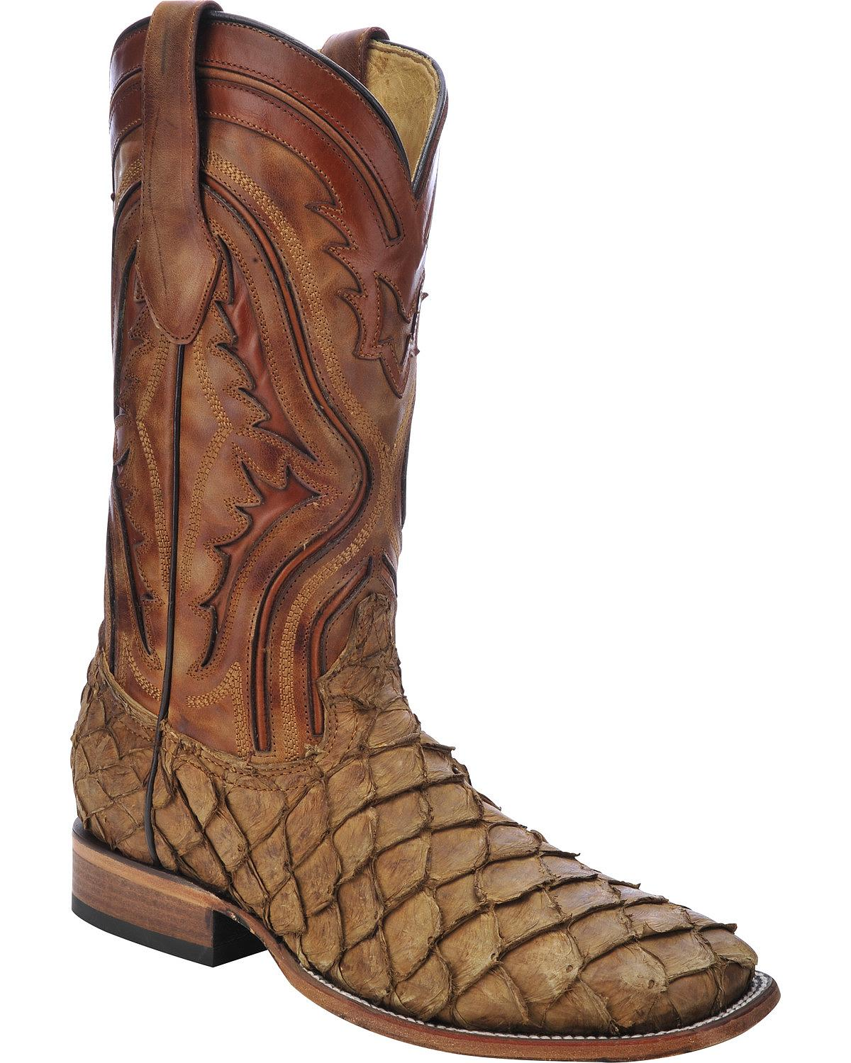 corral men 39 s pirarucu fish cowboy boot square toe c3042