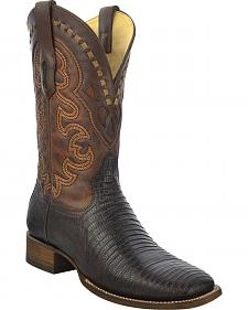 Corral Lizard Cowboy Boots - Wide Square Toe