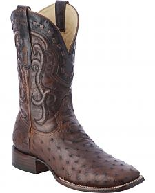 Corral Ostrich Cowboy Boots - Wide Square Toe