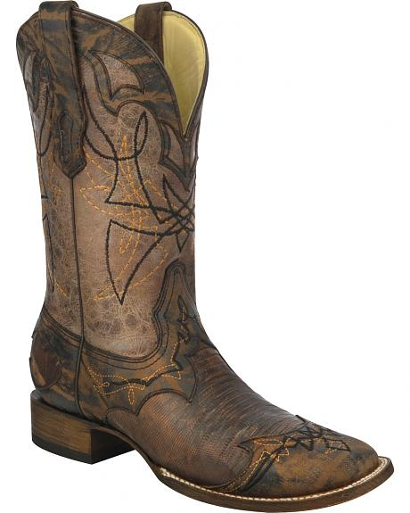 Corral Distressed Lizard Cowboy Boots - Wide Square Toe