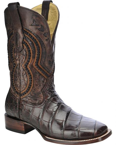 Corral Alligator Cowboy Boots - Wide Square Toe