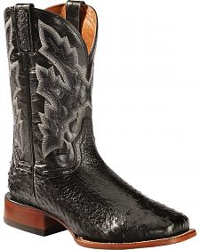 Dan Post Black Quilled Ostrich Cowboy Boots - Square Toe
