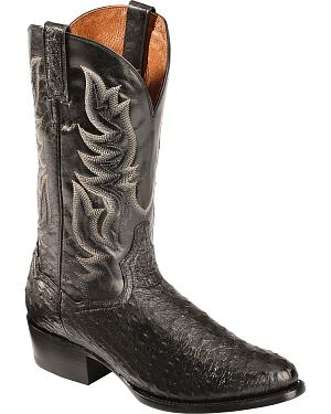 Dan Post Black Quilled Ostrich Cowboy Boots - Round Toe