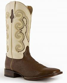 Ferrini Men's Smooth Quill Ostrich Exotic Boots - Square Toe