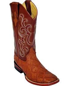 Ferrini Ostrich Patchwork Exotic Western Boots - Square Toe