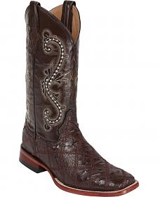 Ferrini Ostrich Patchwork Exotic Western Boots - Square Toe