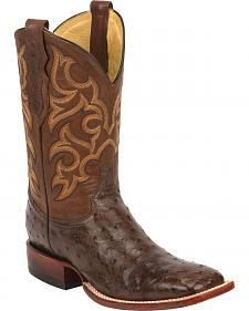 Justin Tobacco Brown Full Quill Ostrich Cowboy Boots - Square Toe