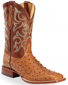 Justin Cognac Waxy Full Quill Ostrich Cowboy Boots - Square Toe