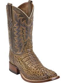 Tony Lama Tan Vintage Exotics Hornback Caiman Cowboy Boots - Square Toe
